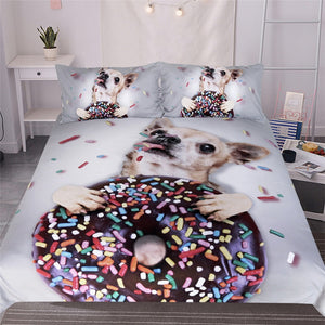 Dog Bedding Set Sweet Donut Duvet Cover Set