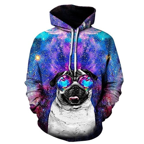 Starry Sky Pug Dog Printed Hoodies Men Sweatshirt