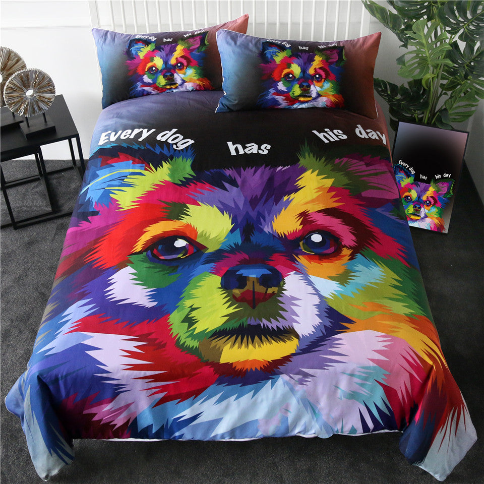 Dog Bedding Set Art Duvet Cover Pomeranian