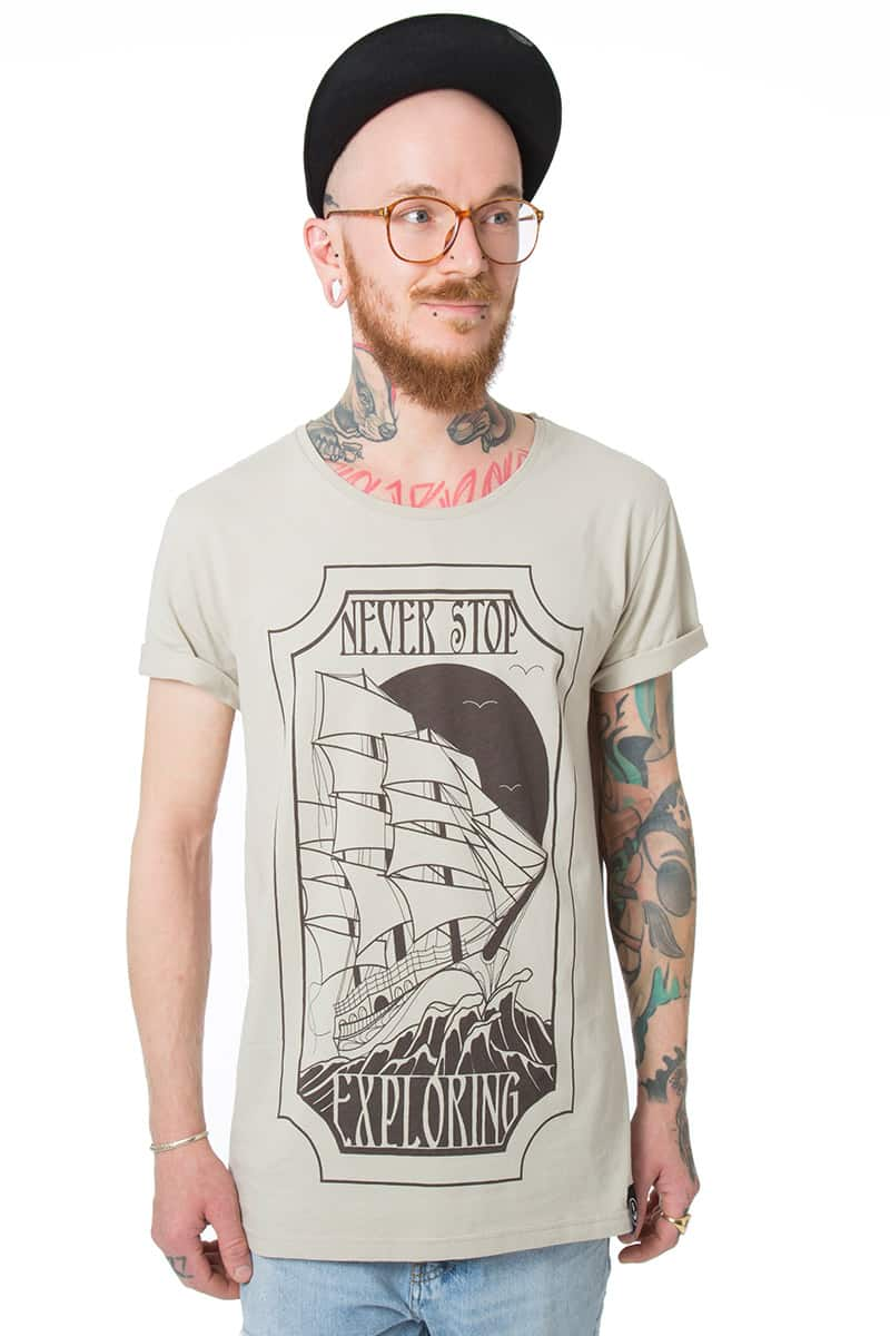 T-Shirt Men EXPLORER beige - Black Mountain Heritage