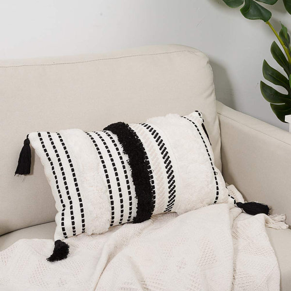 blue page Morocco Tufted Boho Throw Pillow Covers 12X20 Inch - Lumbar Small Decorative Pillows Cover for Couch Sofa Bedroom Living Room, Rectangle Accent Pillow Case ONLY (Black Off White)