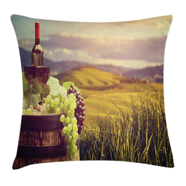 "Ambesonne Wine Throw Pillow Cushion Cover, Italy Tuscany Landscape Rural Vineyard Autumn Harvest Grapes Drink Viticulture, Decorative Square Accent Pillow Case, 18"" X 18"", Green Black Brown"