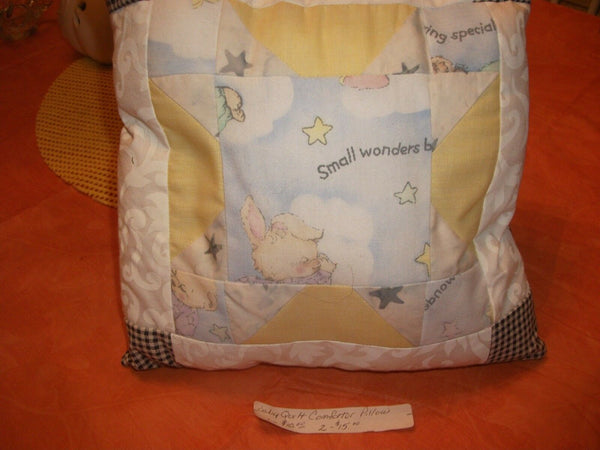 """Sleepytime"" Baby Pillow, Handmade MK Design, Great Gift, 9""x 9"", 1-of-Kind"