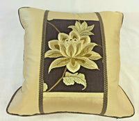 """EXOTIC FLOWER"" ACCENT PILLOW COVER, SILK TAFFETA WITH EMBROIDERED INSET, GOLD"