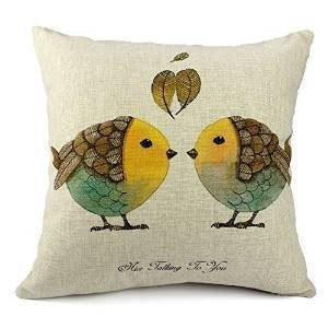 Hidoon Pillow Cases Standard Size, 18X18 Inch (45x45CM) Cotton Linen Decorative Throw Pillow Case Cushion Cover 2 Bird Kiss and Sayings