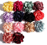 14 Colors Mixed Baby Girl Cloth Flowers Lined Hair Bows Clips Bands Accessories For Teens Girls Babies Toddlers Pack Of 10 (6CM, Burgundy)