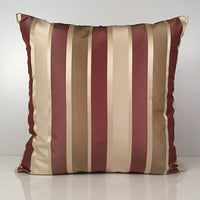 "SH Pillows, Decorative Throw Pillow Covers, Striped, Lined Silk Blend Pillow Cases, Modern Pillowcase (Tan, Light Tan, 22""x22"")"