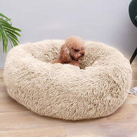 Pet Plush Bed Round, Mosunx Dog Cat Calming Bed, Soft Donut Cushion Bed, Self-Warming and Improved Sleep, Best Friend for Dogs and Cats