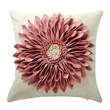 OiseauVoler Decorative Throw Pillow Covers Handmade 3D Flower Cushion Covers Cases Accent Pillowslips Square Gift Home Sofa Car Bed Room Decor 18 x 18 Inch Rose Gold