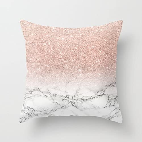 UOOPOO Modern Faux Rose Pink Glitter Ombre White Marble Pattner Cotton Canvas Throw Pillow Case 18 x 18 Inches Square Cushion Cover for Sofa(Not Real Gold, Just Print Pattern Pillow Cover)