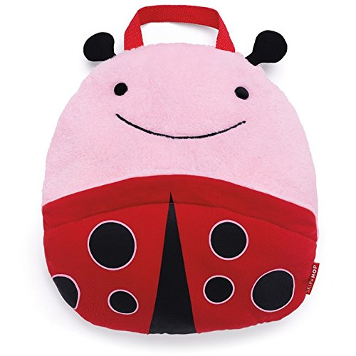 Skip Hop Zoo Little Kid and Toddler Multi-Purpose Travel Blanket & Convertible Pillow, Soft Plush Velour, Multi Livie Ladybug