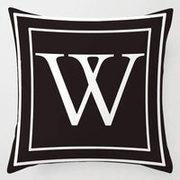 INSHERE Black or Dark Blue Pillow Cover English Alphabet Throw Pillow Case Modern Cushion Cover Square Pillowcase Decoration for Sofa Bed Chair Car 18 x 18 Inch (Black P)