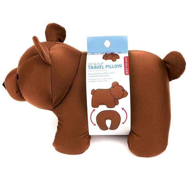 Kikkerland Brown Bear Zip & Flip Travel Pillow, 1 EA
