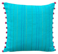 VLiving Housewares Embroidered Cotton Cushion Turquoise Pillow Cover (Turquoise, 16 x 16 in.)
