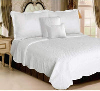 J&S Housewares 5 Piece Quilt Set, Twin, White