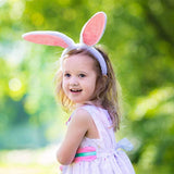 Easter Bunny Ears Headband 6pcs with Pink Plush Fluffy Rabbit Ears Hairband Perfect for Easter Party Decoration