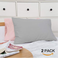 TILLYOU Cotton Collection Soft Toddler Pillowcases Set of 2, 14x20 - Fits Pillows Sized 12x16, 13x18 or 14x19, Machine Washable Travel Pillow Case Cover with Envelope Closure, Gray & Pink