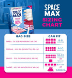 Spacemax Premium Reusable Vacuum Storage Bags (Jumbo 6 Pack), Save 80% More Storage Space. Double Zip Seal & Leak Valve, Travel Hand Pump Included.