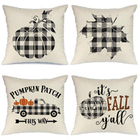 AENEY Fall Pillow Covers 18x18 inch Set of 4 Buffalo Check Plaid Pumpkin Throw Pillows for Fall Thanksgiving Decor Farmhouse Fall Decorations Decorative Pillows
