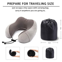 QIANYIYUAN Travel Pillow 100% Pure Memory Foam, Airplane Travel Kit with 3D Contoured Eye Masks, Earplugs, and Luxury Bag, Perfect for Airplane, Trains, Car and More (Grey)