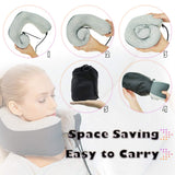 Memory Foam Travel Pillow, Washable Neck Pillow for Airplanes Train Bus Car Travel Sleeping with Portable Carrying Bag