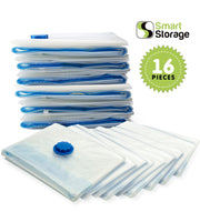 Smart Storage Vacuum Storage Bags, 16 Pack Space Saver Bags for Clothes, Pillows & Bedding, Travel Luggage | Vacuum Seal Storage Bags