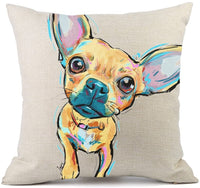 Redland Art Cute Pet Pit Bull Dogs Pattern Cotton Linen Throw Pillow Covers Cushion Cover Pillowcases Home Decor 18 x 18 Inches