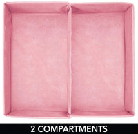 mDesign Soft Fabric Dresser Drawer and Closet Storage Organizer Bin for Child/Kids Room, Nursery, Playroom - Divided 2 Section Tray - Herringbone Print, 4 Pack - Pink