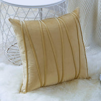 Top Finel Decorative Hand-Made Throw Pillow Covers for Couch Bed Soft Particles Striped Velvet Solid Cushion Covers 18 x 18 Inch 45 x 45 cm, Pack of 2, Khaki