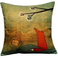 Hidoon 1PCS Animal Series Cartoon Style Lovely Fox Go Boating Together Throw Pillow Case Decor 18x18 Inch Lovely Fox Under The Tree Throw Pillow Covers