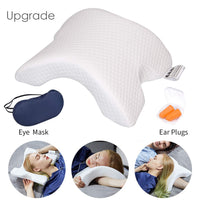 LOCYOP Sleeping Pillow Slow Rebound Pressure ice Silk Memory Foam Travel Couple Arched Shaped arm U Shaped Pillow Providing Comfort and Support for The arm and Head (Eye Mask and Ear Plugs)