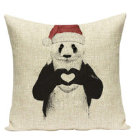 baisheng Linen Pillow Case Christmas Cute Animal Sofa Bed Car Decorative Throw Pillow Square Cover Cushion Cover (Panda 2-4545cm/1818inch)
