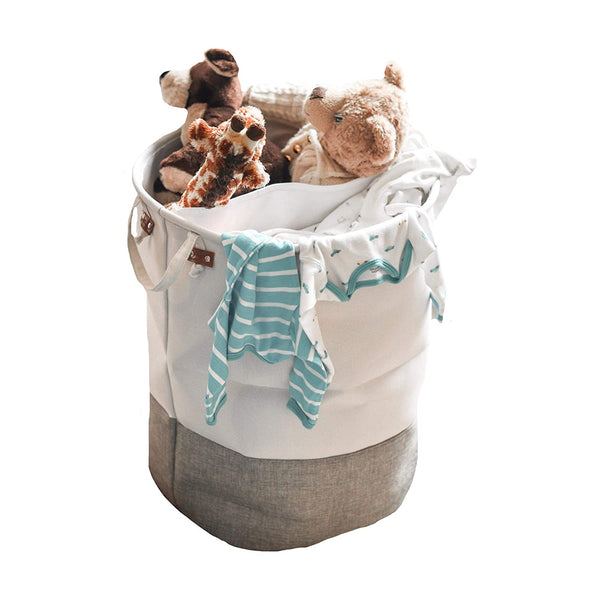 Cute Large Baby Laundry Basket with Divider | White and Gray | Great Hamper for Girls Or Boys | Baby Room Furniture |