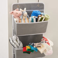 EZOWare Over The Door Organizer with 4 Pocket, Hanging Storage Organizer for Pantry Baby Nursery Bathroom Closet Dorm (Pack of 2, Gray)
