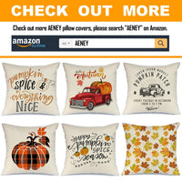 AENEY Fall Buffalo Check Plaid Leaves Throw Pillow Cover 18 x 18 for Couch Autumn Decorations Farmhouse Home Decor Thanksgiving Decorative Pillowcase Faux Linen Square Cushion Case for Sofa