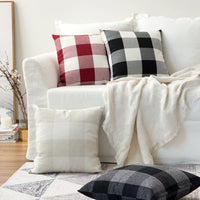 MIULEE Classic Retro Checkers Plaids Cotton Linen Soft Solid Cream White and White Decorative Throw Pillow Covers Home Decor Cushion Case for Sofa Bedroom Car 24 x 24 Inch