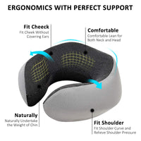 CCF Travel Pillow Upgrade Design, Pure Memory Foam Neck Pillow, U-Shaped Adjustable Aircraft Travel Pillow Memory Foam Neck Pillow, 360° Super Soft Neck Support Travel Pillow (Black)