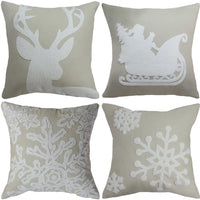 "Goege Bailey Set of 4 Christmas Pillow Cover Embroidered Snowflake Santa Reindeer Xmas Tree Throw Pillow Case 18""x18"" Beige"