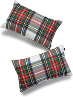 "Hofdeco Decorative Throw Pillow Cover ONLY, Gray Classic Stewart Scottish Tartan Plaid (Canvas), 12""x20"", Set of 2"
