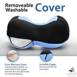 SunTal Ultimate Comfort Travel Pillow + Eye Mask – Prevent Neck Pain – Memory Foam Pillow, Perfect for Airplane, Train, Bus, Car Travel – Full 360 Head & Neck Support (Blue)