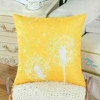 CaliTime Set of 3 Soft Canvas Throw Pillow Covers Cases for Couch Sofa Home Decoration 18 X 18 Inches Solid Dandelion Print Vibrant Yellow