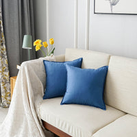 Jeanerlor Pack of 2 Natural Cotton Linen Soild Decorative 24 x 24 Inch Throw Pillow Covers Blue Cushion Case Set for House Bedroom Car 60 x 60 cm,Denim Blue