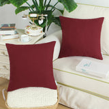 CaliTime Pack of 2 Throw Pillow Covers Cases for Couch Sofa Bed Solid Dyed Soft Cotton Canvas 18 X 18 Inches Burgundy