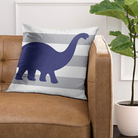 Emvency Throw Pillow Cover Stripes Dino Rawr Means I Love You in Dinosaur Gray Nursery Decorative Pillow Case Home Decor Square 18 x 18 Inch Pillowcase