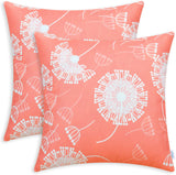 CaliTime Pack of 2 Soft Canvas Throw Pillow Covers Cases for Couch Sofa Home Decoration Flying Dandelion Print Both Sides 18 X 18 Inches Living Coral