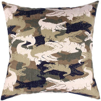 "TangDepot174; Camouflage Throw Pillow Cover, Camo Pillow Cases - 100% Cotton Canvas, Handmade - Many Colors & Sizes Avaliable - (16""x16"", C05 Crocodile Camo)"