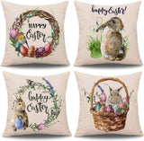 "Whaline 4 Pieces Easter Pillow Case Rabbit Bunnies with Eggs Canvas Pillow Cover, Spring Season's Cotton Linen Sofa Bed Throw Cushion Cover Decoration (18"" x 18"")"