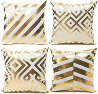 YNester 4Pcs Décor Throw Pillow Cover Super Soft Gold Foil Decorative Cushion Cover 18 x 18 inches Eyelashes Lips Love Printed Pillow Case for Sofa Chair Car Bed (Black)