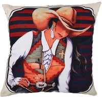 "El Paso Designs Western Rodeo and Native American Beautiful Canvas Pillow Covers 18"" X 18"" (Style A)"