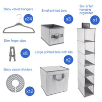 GOLOHO Nursery Organizer and Storage Closet Set (50 Pieces), Chevron Pattern, Grey and White